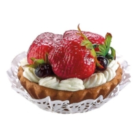 3 Inch Strawberry Blueberry Fake Tart with Cream