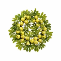 34 Inch Apple Blossom Faux Wreath Yellow Green