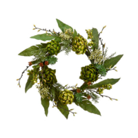 24 Inch Faux Artichoke Wreath Green