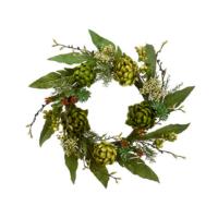 24 Inch Faux Artichoke Wreath Green