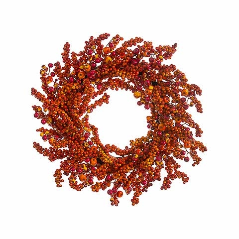 24 Inch Berry Wreath Orange Flame