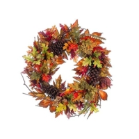 22 Inch Berry Fall Leaf Berry Wreath Orange Burgundy