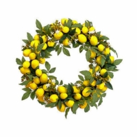 24 Inch Faux Lemon Wreath Yellow Green