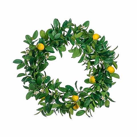 30 Inch Lemon Wreath Green Yellow