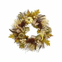 22 Inch Pumpkin Gourd Pine Cone Leaf Wreath Two Tone Green