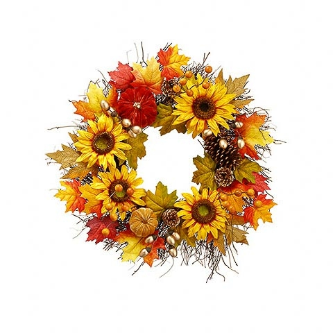 24 Inch Pumpkin Sunflower Maple Wreath Orange Yellow