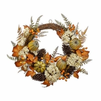24 Inch Hydrangea Pumpkin Pine Cone Half Wreath Beige Orange