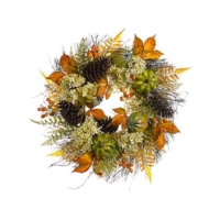 24 Inch Hydrangea Pumpkin Pine Cone Wreath Beige Orange