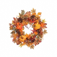 24 Inch Pumpkin Pine Cone Maple Wreath Orange Yellow