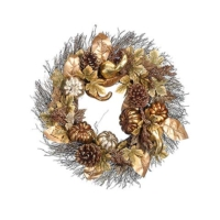 24 Inch Pumpkin Gourd Pine Cone Fall Leaf Wreath Gold Copper