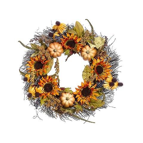 24 Inch Pumpkin Sunflower Berry Wreath Butterscotch Amber