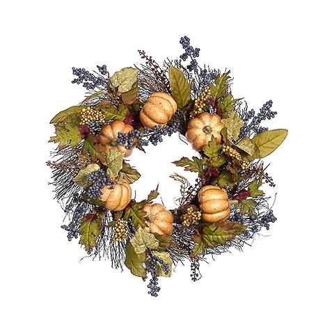 22 Inch Pumpkin Berry Wreath Butterscotch Amber