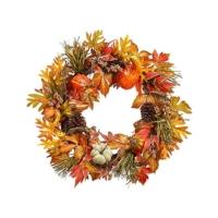 30 Inch Pumpkin Gourd Berry Wreath Orange Rust