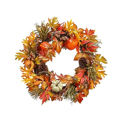 30 Inch Pumpkin Gourd Berry Wreath Orange Rust