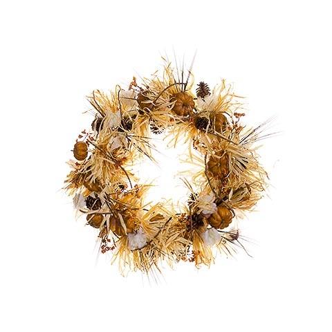 32 Inch Pumpkin Berry Pine Cone Grass Wreath Toffee Brown