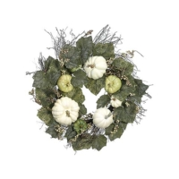 24 Inch Pumpkin Gourd Grape Leaf Wreath Green Cream