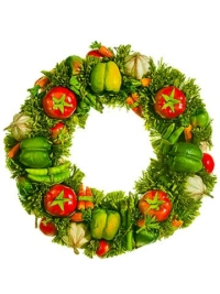 17 Inch Artificial Vegetable Wreath Mixed