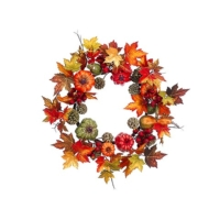 24 Inch Pumpkin Gourd Maple Wreath Fall
