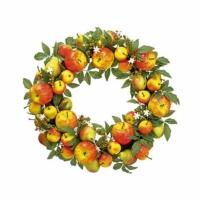 24 Inch Apple Pear Wreath Red Green