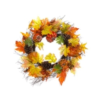 21 Inch Pumpkin Maple Berry Wreath Orange Fall