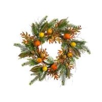 24 Inch Mixed Fruit Oak Leaf Pine Wreath Orange Brown