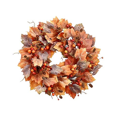 27.5 Inch Berry Grape Leaf Pine Cone Wreath Orange Fall