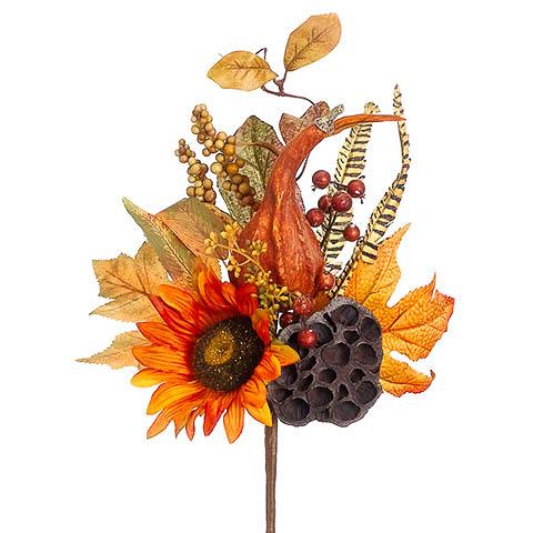 17 Inch Pumpkin Lotus Pod Sunflower Pick Fall