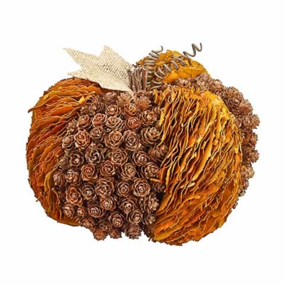 7.85 Inch Pine Cone Fall Leaf Pumpkin Brown Fall