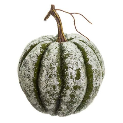 7.5 Inch Beaded Artificial Pumpkin Green