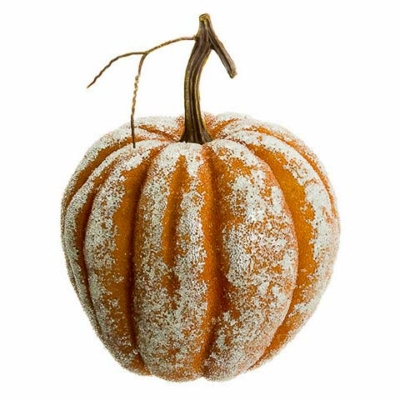 7.5 Inch Beaded Faux Pumpkin Orange