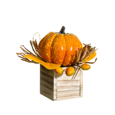 6.5 Inch Fake Pumpkin Rosehip in Wood Box Orange