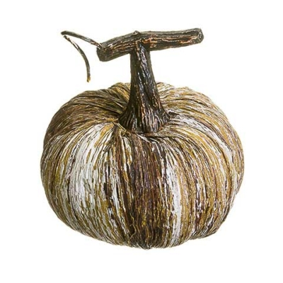 2.75 Inch Artificial Pumpkin Brown Whitewashed