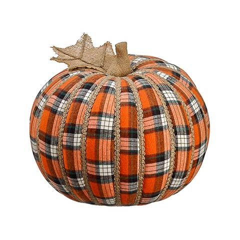 11 Inch Plaid Decorative Pumpkin
