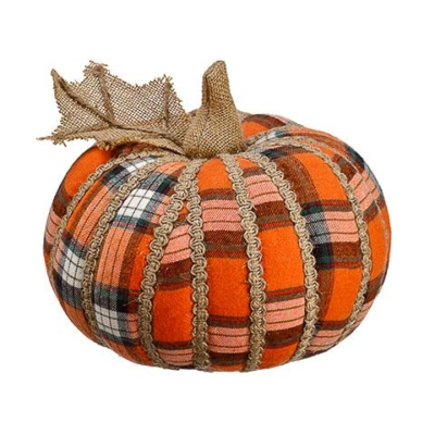 6.75 Inch Plaid Decorative Pumpkin