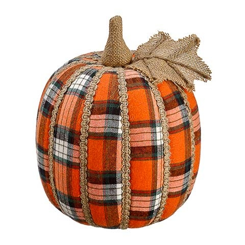 7 Inch Plaid Decorative Pumpkin