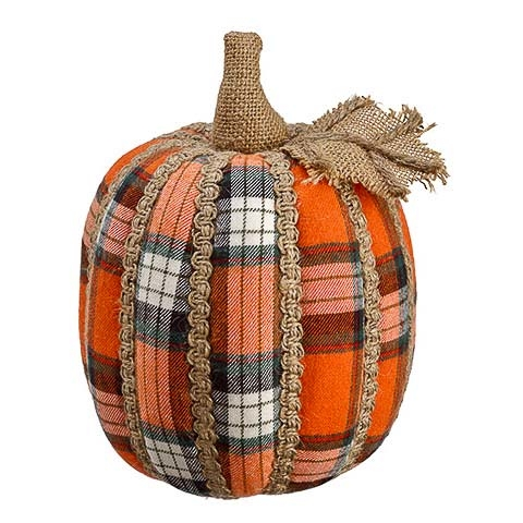 6.5 Inch Plaid Decorative Pumpkin