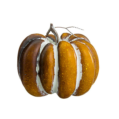 7.75 Inch Artificial Pumpkin Orange Whitewashed