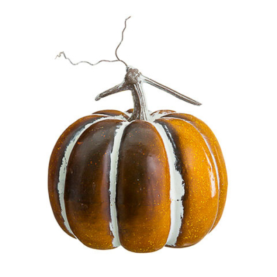 10 Inch Faux Pumpkin Orange Whitewashed