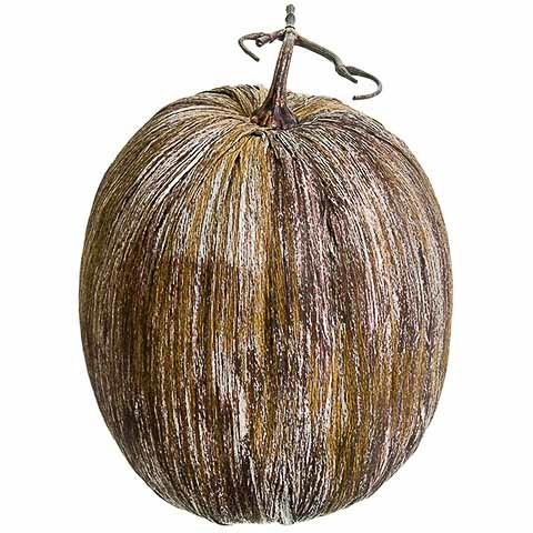 13.5 Inch Decorative Pumpkin Brown Whitewashed