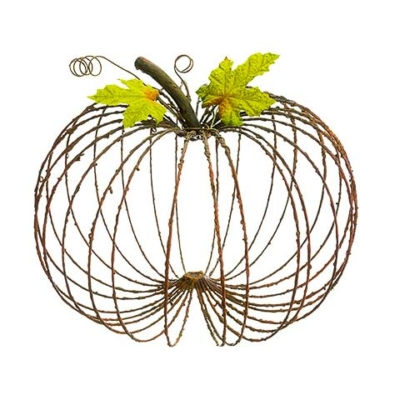 11 Inch Metal Decorative Pumpkin Rust