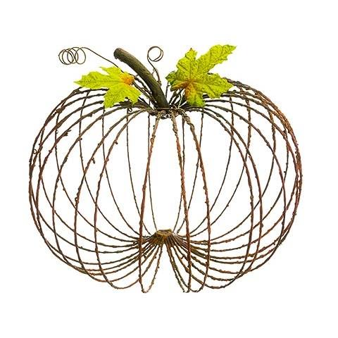 11 Inch Metal Decorative Pumpkin Rust