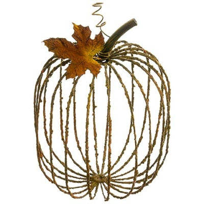 12.5 Inch Metal Decorative Pumpkin Rust