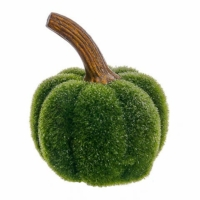 5 Inch Glittered Moss Decorative  Pumpkin Green Glittered