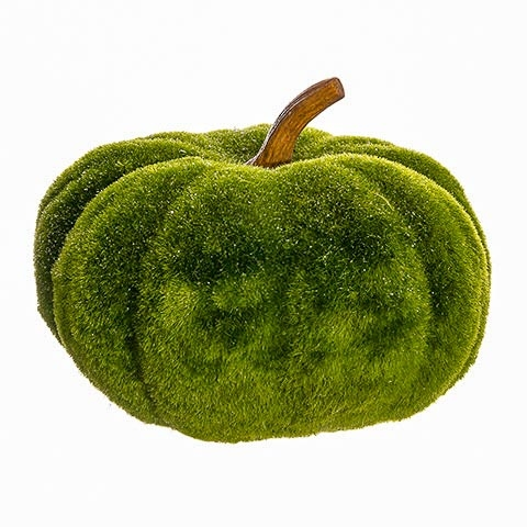 7 Inch Glittered Moss Decorative Pumpkin Green Glittered