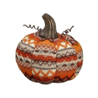 7.5 Inch Fabric Decorative Pumpkin Orange Cream