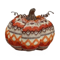 6 Inch Fabric Decorative Pumpkin Orange Cream