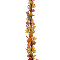 6 Foot Pumpkin Fall Leaves Garland