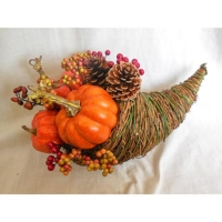15 Inch Faux Pumpkin Cornucopia Orange