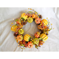 16 Inch Pumpkin Gourd Decorative Wreath Green Yellow