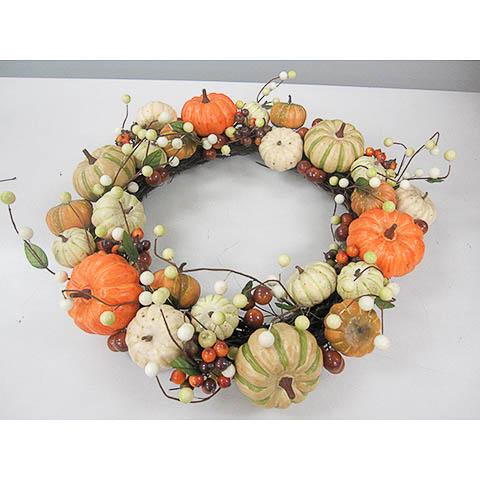 18 Inch Pumpkin Decorative Wreath Orange Yellow